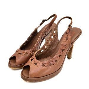 KORS Cognac Leather Peep Toe Slingback Heels